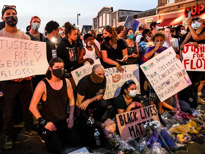 Protesters gather near the makeshift memorial in honour of George Floyd marking one week anniversary of his death, on 1 June 2020 in Minneapolis, Minnesota: Chandan Khanna/AFP via Getty Images