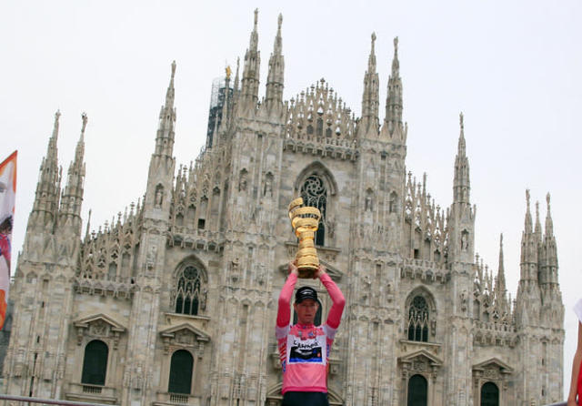 Canadian Garmin team cyclist Ryder Hesjedal celebrates with his trophy after winning the Tour of Italy (Giro d'Italia) cycling race on May 27, 2012 in Milano. AFP PHOTO / LUK BENIESLUK BENIES/AFP/GettyImages
