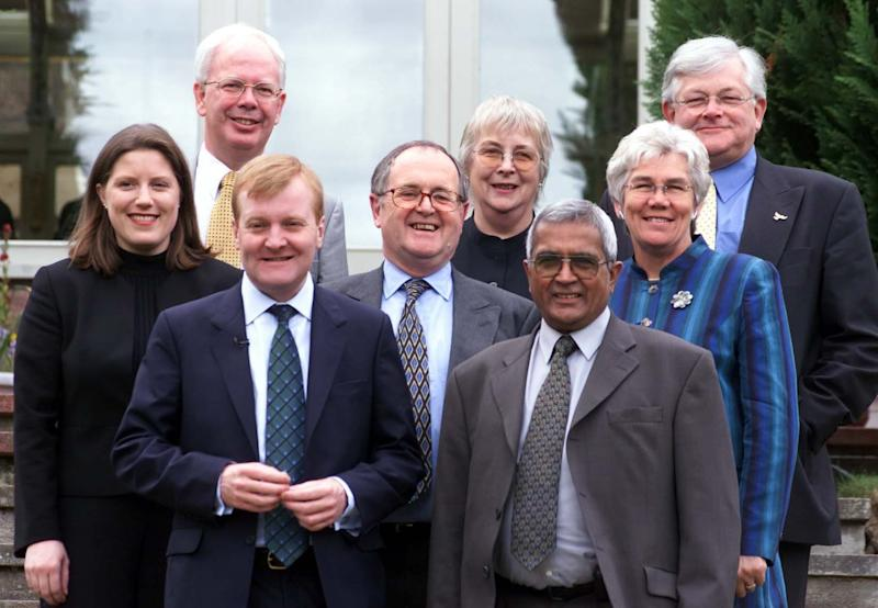 Baroness Maddock, second from right, with Charles Kennedy, front left, Alan Beith, centre, and key parliamentary colleagues during the 2001 general election - Brian Smith
