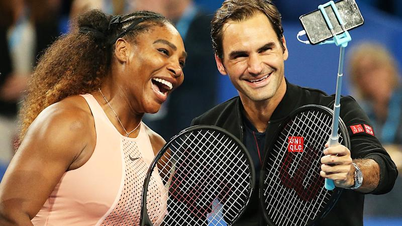 Serena Williams and Roger Federer at the Hopman Cup in 2019. (Photo by Paul Kane/Getty Images)