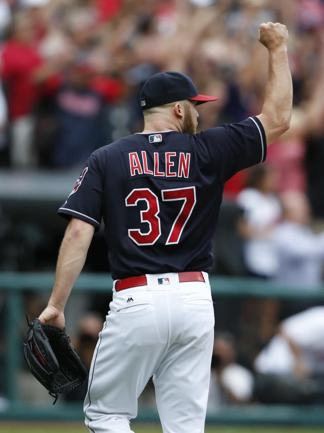 Cleveland Indians starting pitcher Cody Allen celebrates the last out of a 5-3 victory over the Detroit Tigers in a baseball game, Wednesday, Sept. 13, 2017, in Cleveland. The Indians set the American League record with 21 consecutive wins. (AP Photo/Ron Schwane)