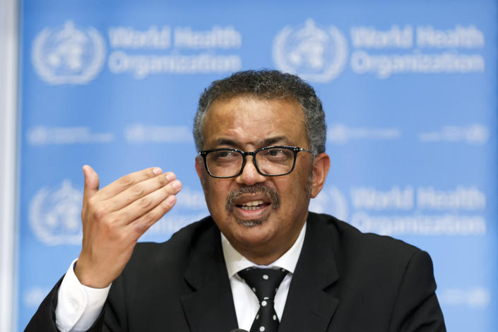 Tedros Adhanom Ghebreyesus, director general of the World Health Organization, at a press conference about the coronavirus on Feb. 10 in Geneva. (Salvatore Di Nolfi/Keystone via AP)