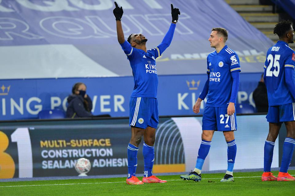 Kelechi Iheanacho celebrates scoring the third goal for Leicester City with team mates during the FA Cup Quarter Final match between Leicester City and Manchester United.