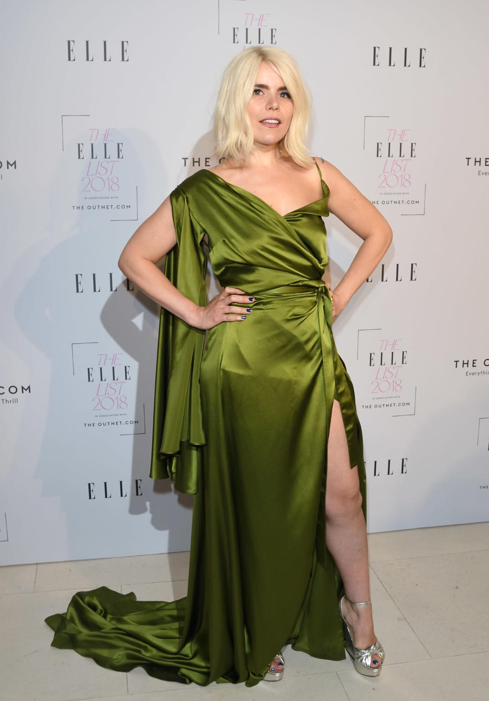 <p>Paloma Faith donned a thigh-split dress for the fashion ceremony and accessorised the killer look with a pair of Charlotte Olympia heels. <em>[Photo: Getty]</em> </p>