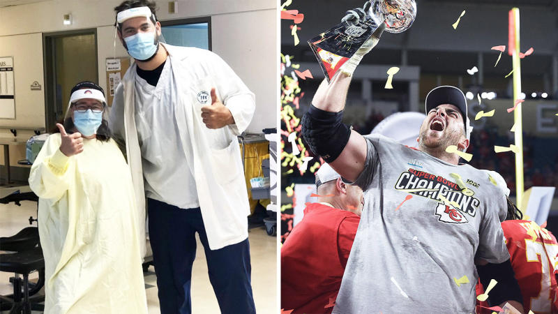 NFL star Laurent Duvernay-Tardif (pictured left with a nurse) and (pictured right) holding the Super Bowl.