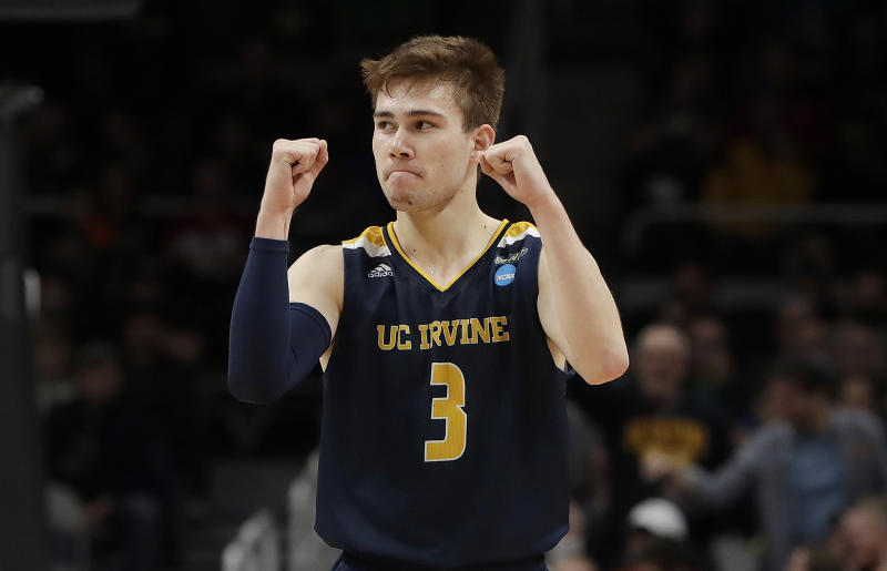 UC Irvine guard Robert Cartwright (3) celebrates against Kansas State during the second half of a first round men's college basketball game in the NCAA Tournament Friday, March 22, 2019, in San Jose, Calif. (AP Photo/Chris Carlson)
