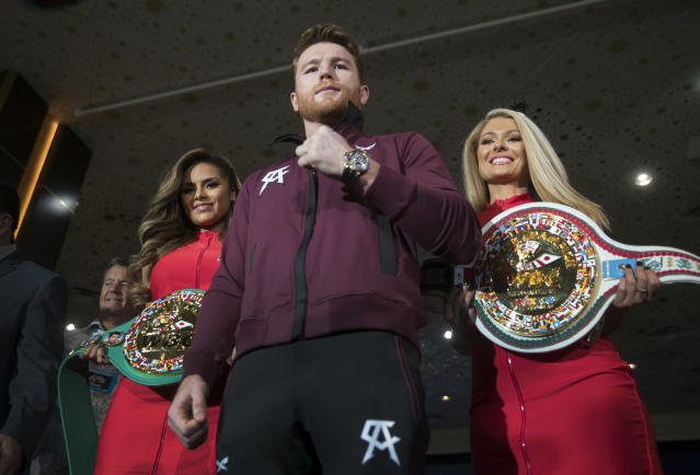 Canelo Alvarez poses in the lobby of the MGM Grand hotel-casino in Las Vegas on Tuesday, Sept. 11, 2018. (AP)