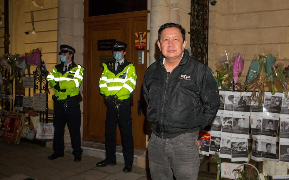 Mr U Kyaw Zwar Minn, the former ambassador of Myanmar to the UK, was locked out of the Mayfair diplomatic mission on Wednesday evening - Jamie Lorriman