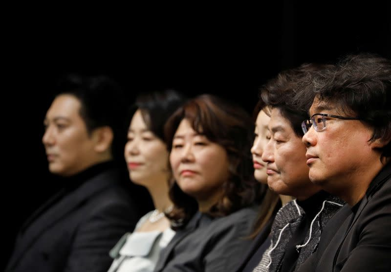 The cast of four Oscar award-winning film 'Parasite' and Director Bong Joon-ho attend a news conference in Seoul