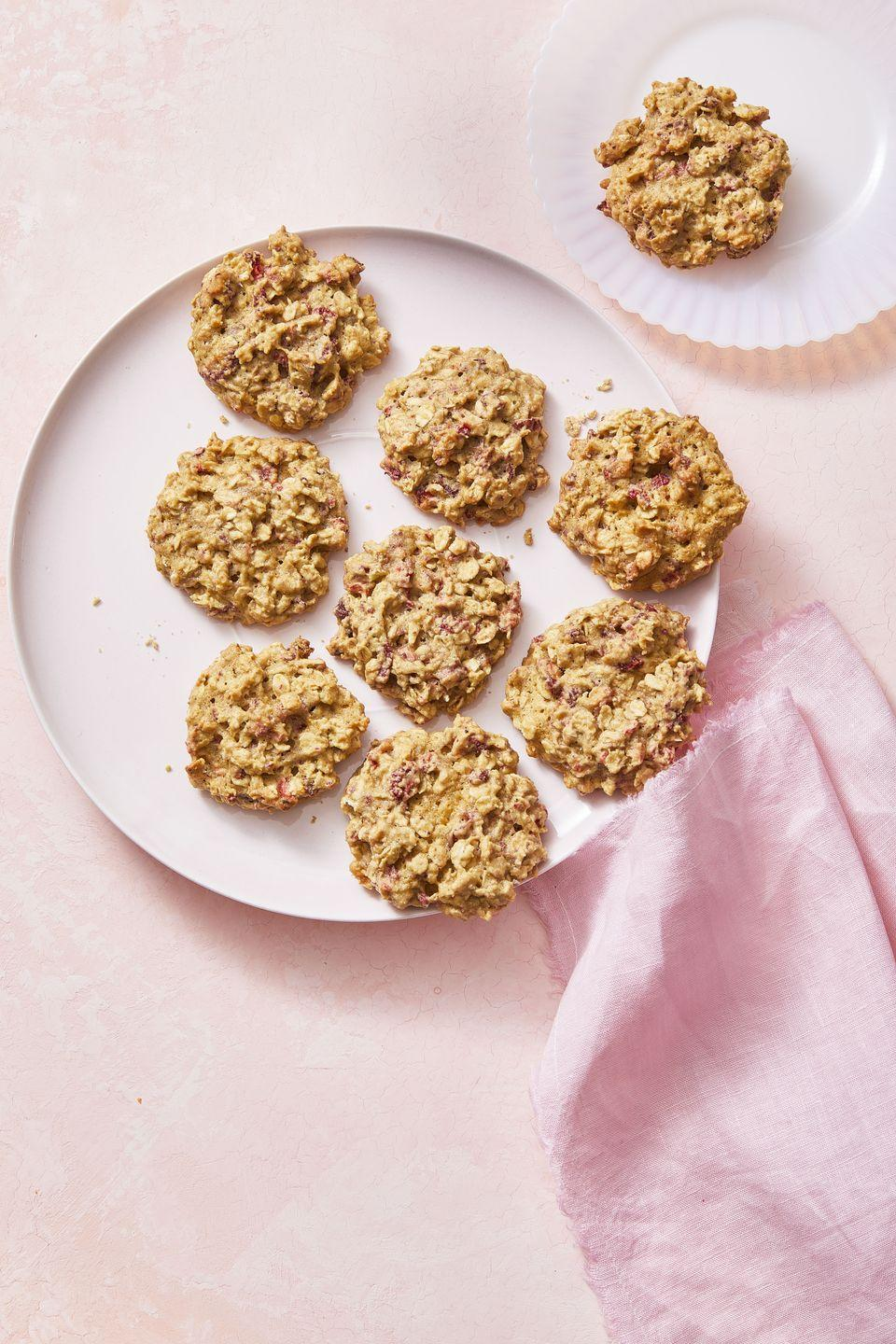 """<p>Upgrade your oatmeal cookies with some sweet strawberries.</p><p><em><a href=""""https://www.womansday.com/food-recipes/a30416854/strawberry-oatmeal-cookies-recipe/"""" rel=""""nofollow noopener"""" target=""""_blank"""" data-ylk=""""slk:Get the recipe for Strawberry Oatmeal Cookies."""" class=""""link rapid-noclick-resp"""">Get the recipe for Strawberry Oatmeal Cookies.</a></em></p>"""