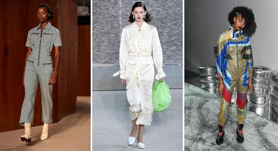 <p>The boiler suit is hung up in every high street store this season with bloggers going potty for Topshop's denim number. If you haven't invested yet then make sure to hurry, as the trend is only just getting started. Team with trainers to tackle the day and throw on kitten heels to dance the night away. <em>[Photo: Getty]</em> </p>