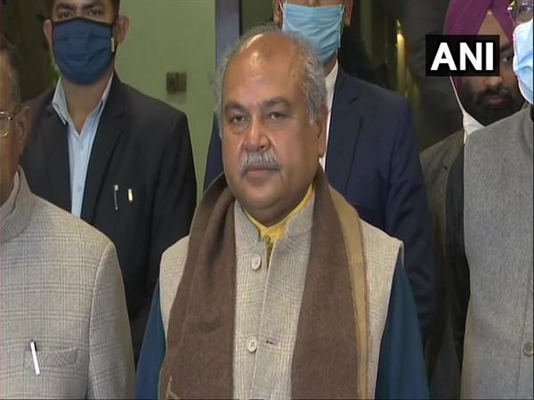 Union Agriculture Minister Narendra Singh Tomar speaking to reporters in New Delhi on Monday.