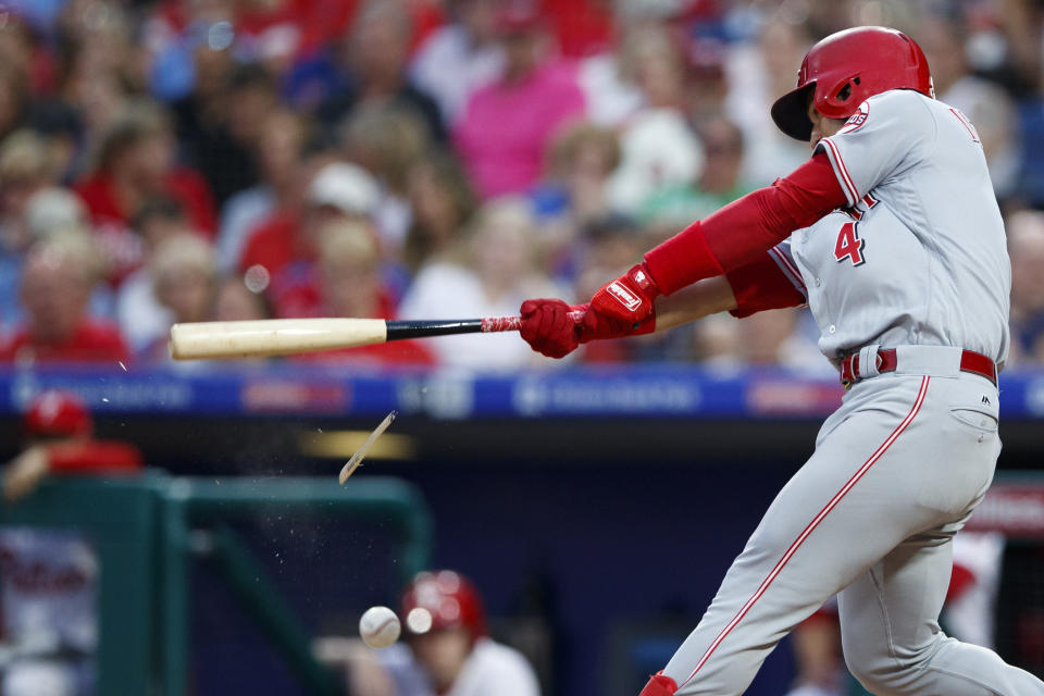 Cincinnati Reds' Jose Iglesias breaks his bat on a foul ball during the fourth inning of a baseball game against the Philadelphia Phillies, Friday, June 7, 2019, in Philadelphia. Iglesias struck out on the at-bat. (AP Photo/Matt Slocum)