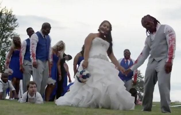 This bride and groom celebrated their wedding day in the most bizarre way. Photo: YouTube