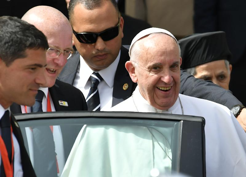 Pope Francis is in Egypt on a 27-hour visit to push for dialogue with Muslims and support the country's embattled Christian minority