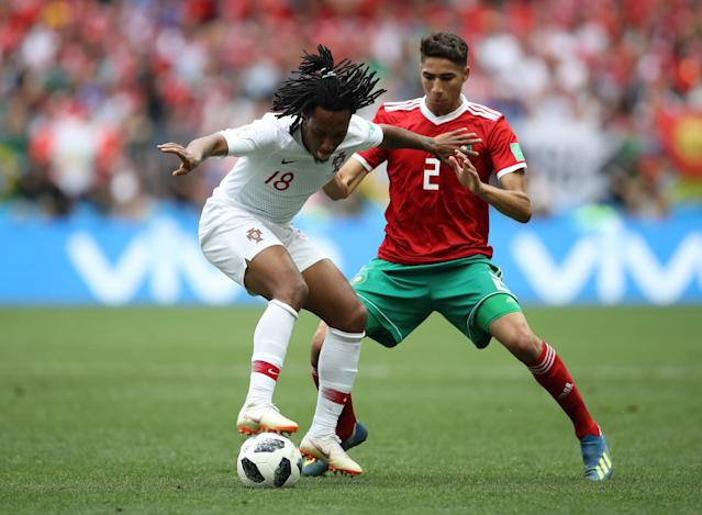 Soccer Football - World Cup - Group B - Portugal vs Morocco - Luzhniki Stadium, Moscow, Russia - June 20, 2018 Portugal's Gelson Martins in action with Morocco's Achraf Hakimi REUTERS/Carl Recine
