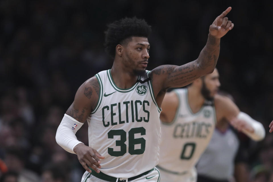 Boston Celtics guard Marcus Smart (36) during the second half of an NBA basketball game in Boston, Monday, Jan. 13, 2020. The Celtics defeated the Bulls 113-101. (AP Photo/Charles Krupa)