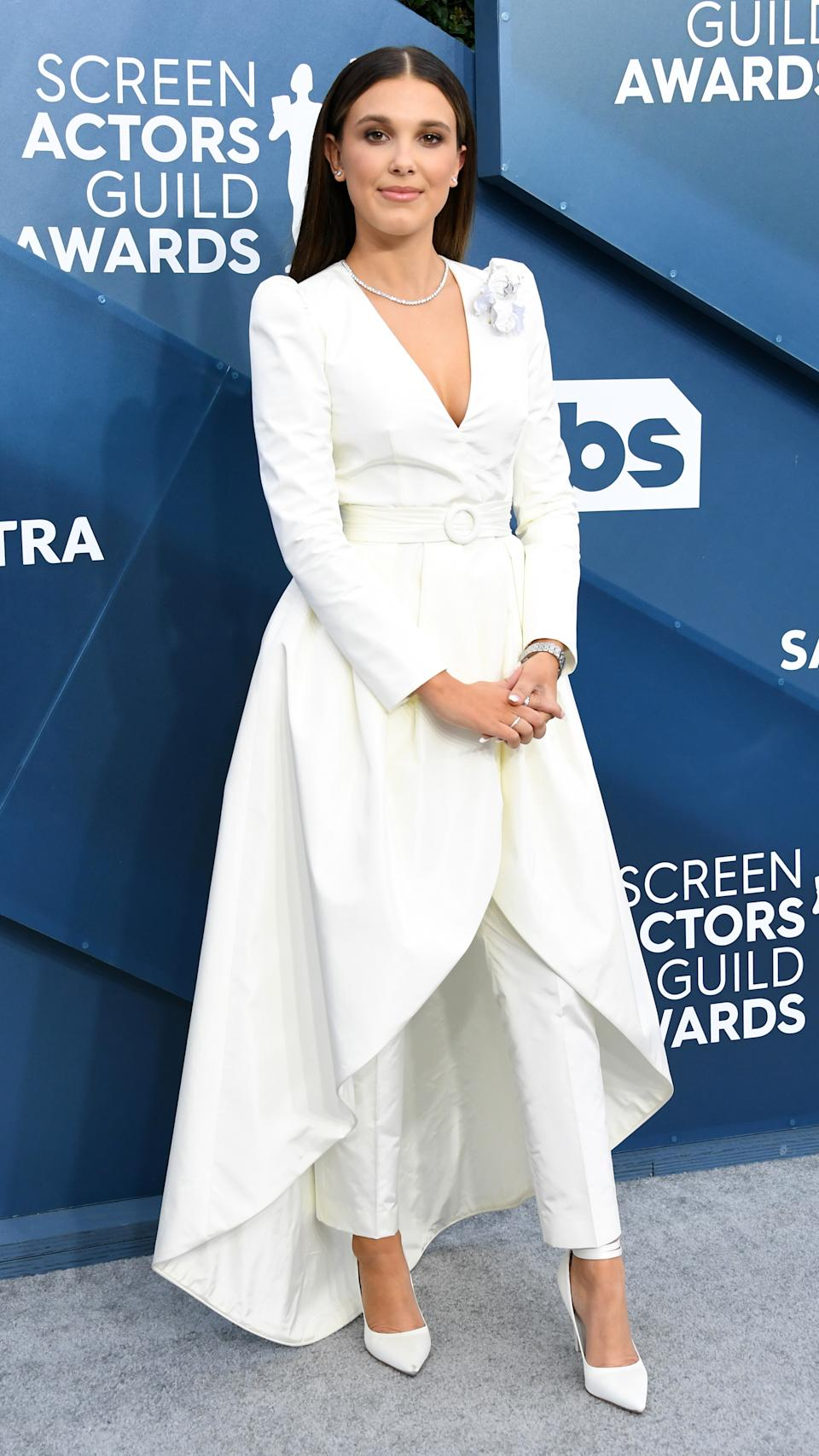 Millie Bobby Brown in a dress and pants ensemble by Louis Vuitton at SAG awards