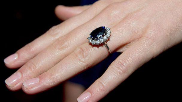 PHOTO: A close up of Kate Middleton's engagement ring as she poses for photographs in the State Apartments with her fiance Prince William of St James Palace, Nov. 16, 2010, in London. (Getty Images)