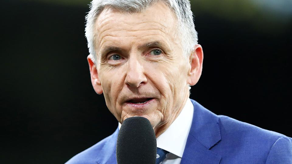 Bruce McAvaney, pictured here prior to the opening game of the 2020 AFL season.