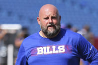 FILE - In this Sept. 16, 2018, file photo, Buffalo Bills offensive coordinator Brian Daboll walks off the field prior to the game against the Los Angeles Chargers, in Orchard Park, N.Y. After taking a short break, the Browns are resuming their coaching search by interviewing Bills offensive coordinator Brian Daboll, who previously worked in Cleveland. (AP Photo/Rich Barnes, File)