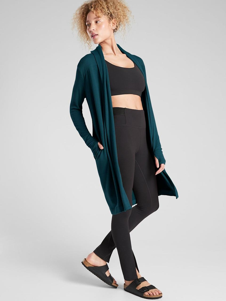 <p>We love layering with this <span>Athleta Canopy Wrap in Nirvana</span> ($72-$89, originally $89), even when we're only working out at home.</p>