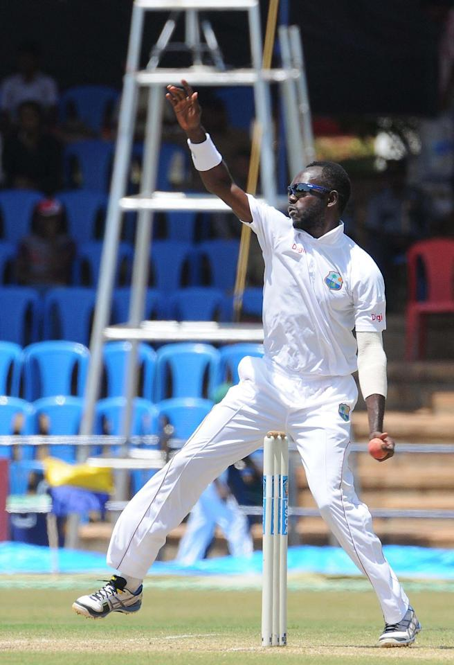 NO Miller of West Indies A team player in action, during the unofficial 1st Test Match between India A and West Indies A 3rd day at Gangothri Glades Cricket Ground, in Mysore on Sept. 27, 2013.(Photo: IANS)
