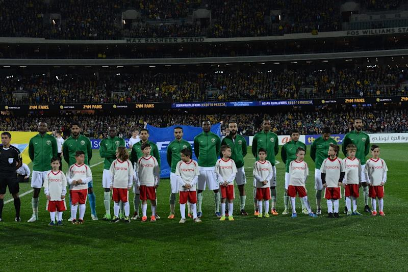 The Saudi Arabia team poses before the World Cup football Asian qualifying match between Australia and Saudi Arabia in Adelaide