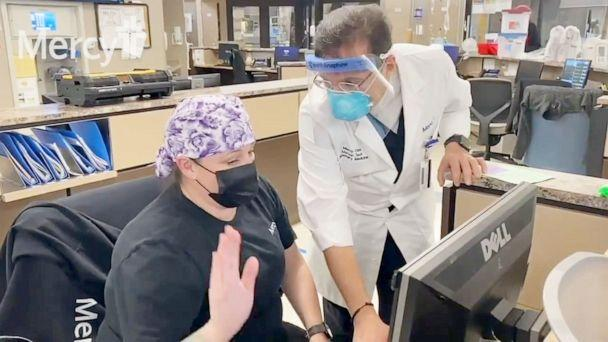 PHOTO: Dr. Maroun Tawk medical staff work wearing COVID-19 PPE in the ICU of Mercy Hospital in Oklahoma City, Nov. 26, 2020. (KOCO/ABC News)