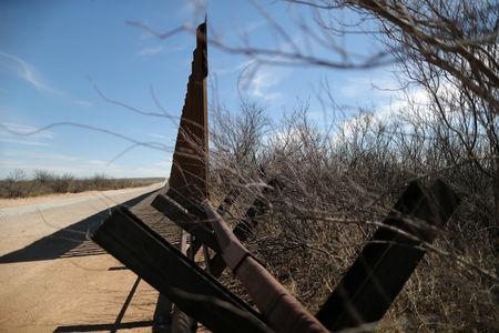 New bollard-style U.S.-Mexico border fencing is seen next to vehicle barriers in Santa Teresa, New Mexico, U.S., March 5, 2019. REUTERS/Lucy Nicholson