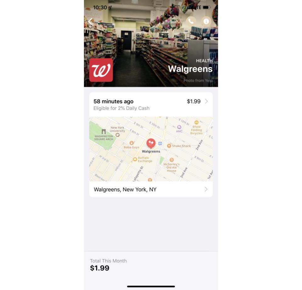 Apple's Card also provides you with the physical location of your purchases, as well as their location in Maps. (Image: Howley)