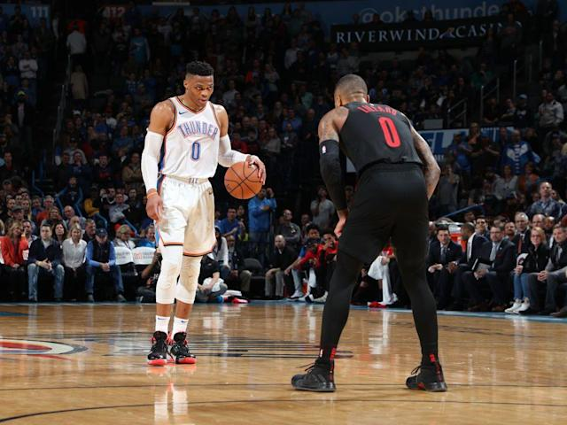 "<a class=""link rapid-noclick-resp"" href=""/nba/players/4390/"" data-ylk=""slk:Russell Westbrook"">Russell Westbrook</a> and <a class=""link rapid-noclick-resp"" href=""/nba/players/5012/"" data-ylk=""slk:Damian Lillard"">Damian Lillard</a> will take their beef to the first round of the playoffs. (Getty Images)"