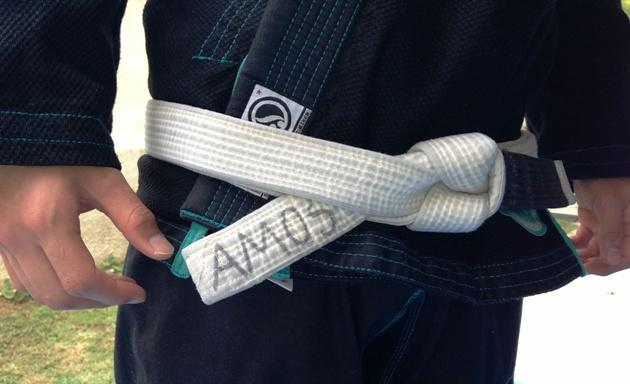 Amos Chua's white belt, worn and seasoned from hours of practice. (Yahoo! Photo)