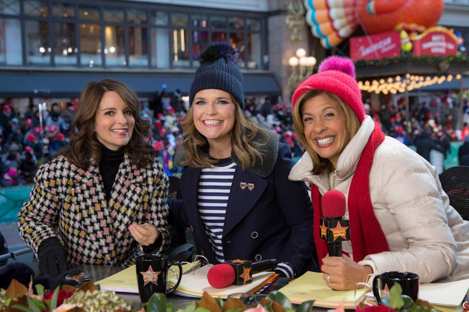 Tina Fey appears at the 2018 edition of the Macy's Thanksgiving Day Parade alongside hosts Savannah Guthrie and Hoda Kotb. (Photo: Eric Liebowitz/NBC)