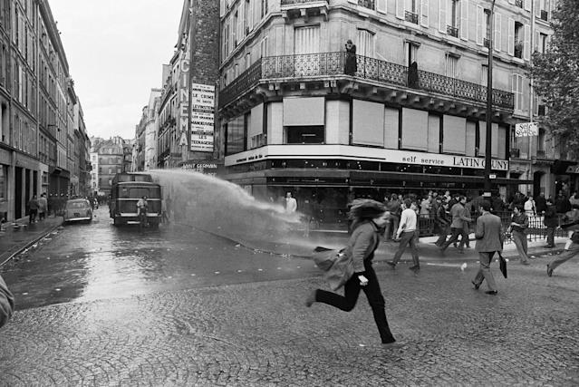 "<p>""The night of the barricades"" resulted in a violent conflict between CRS riot police and thousands of striking students. Numerous police and students were injured in the clash in the Mabillon area on Boulevard Saint Germain, Paris, May 6, 1968. (Photograph by Gökşin Sipahioğlu/SIPA) </p>"