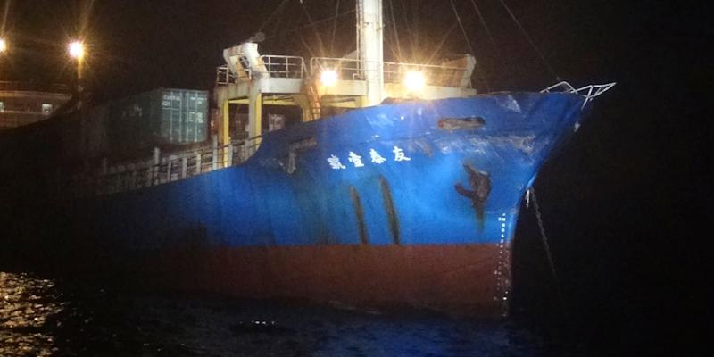 The Taiwanese Yutai No. 1 cargo vessel is seen with damage in Kinmen, Taiwan.