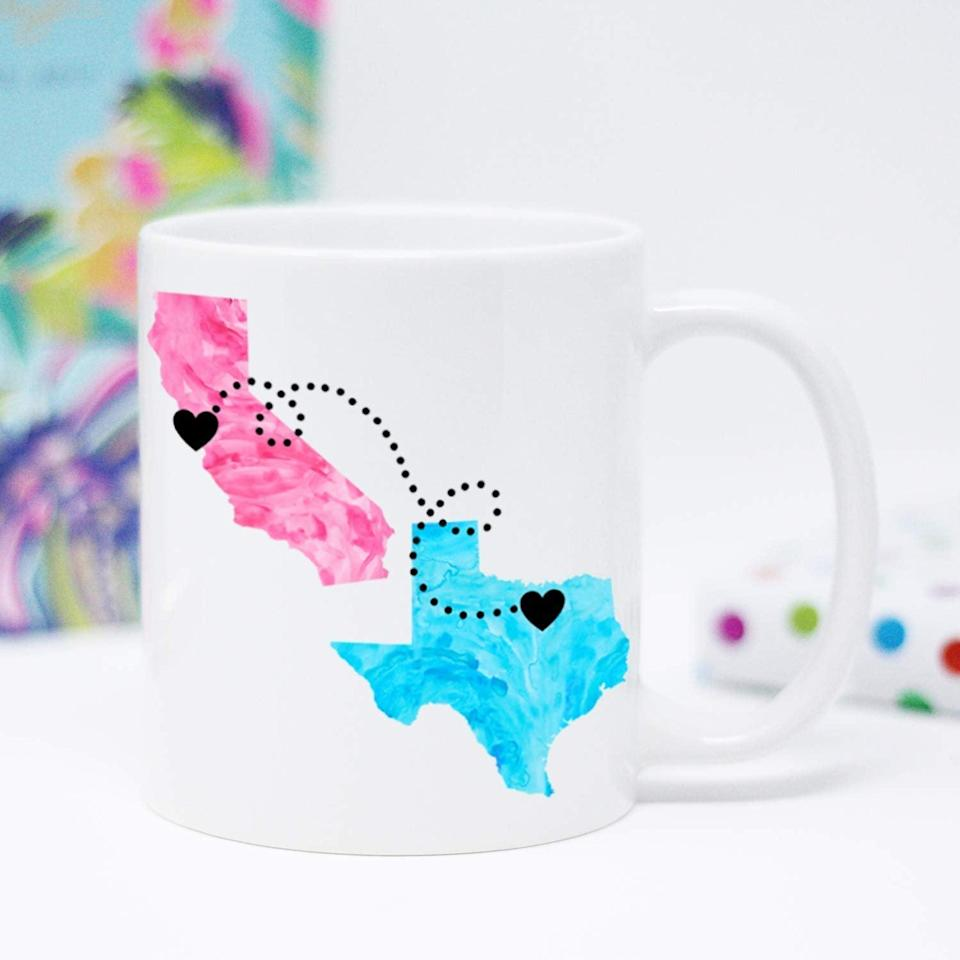 <p>If your best friend moved away, the <span>Personalized Long Distance Coffee Mug</span> ($22) says it all. The front has a heartwarming quote, while the back has the customizable locations. </p>