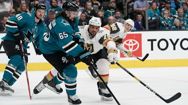 The Sharks and Vegas Golden Knights will square off right away to start off the 2019-20 NHL season.