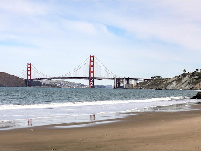 The Golden Gate Bridge is seen from China Beach.