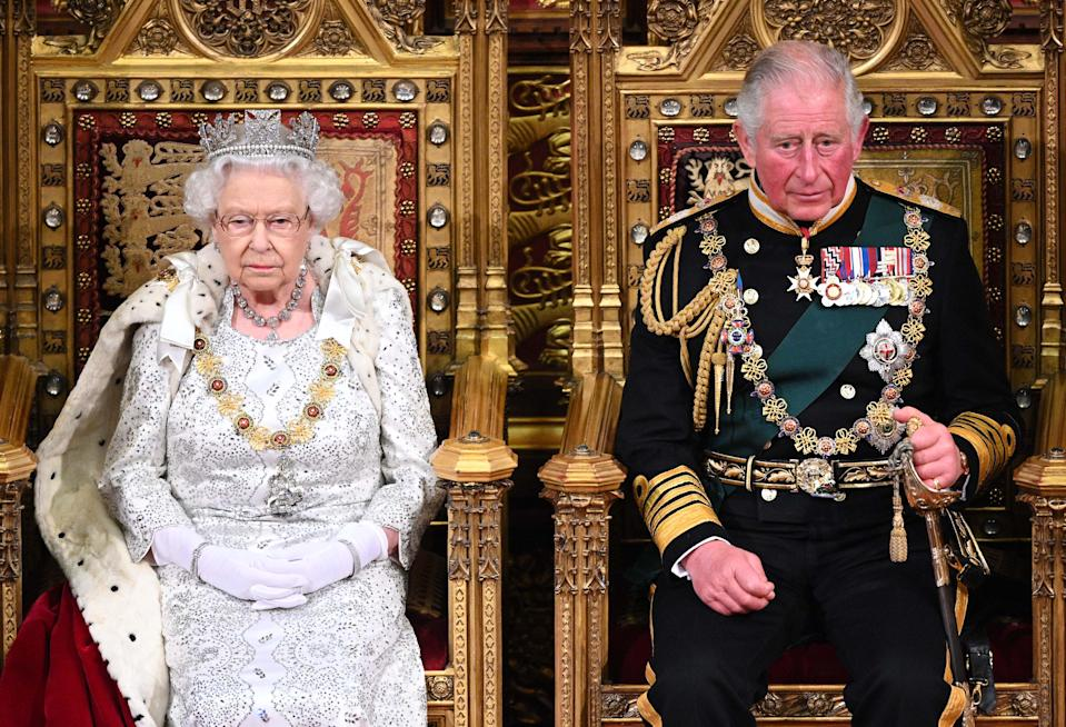 The State Opening of Parliament 2019 .  The Queen and The Prince of Wales