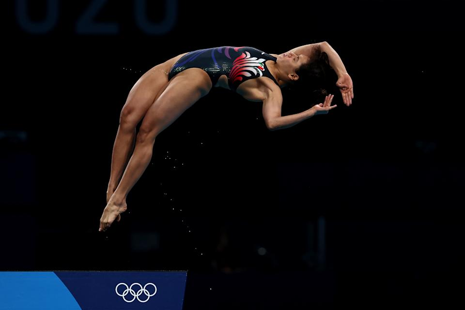 TOKYO, JAPAN - AUGUST 05: Gabriela Agundez Garcia of Team Mexico competes in the Women's 10m Platform Semifinal on day thirteen of the Tokyo 2020 Olympic Games at Tokyo Aquatics Centre on August 05, 2021 in Tokyo, Japan. (Photo by Clive Rose/Getty Images)