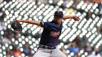 Minnesota Twins pitcher Devin Smeltzer throws against the Detroit Tigers in the third inning of a baseball game in Detroit, Thursday, Sept. 26, 2019. (AP Photo/Paul Sancya)