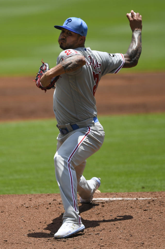 Philadelphia Phillies' Vince Velasquez pitches against the Atlanta Braves during the first inning of a baseball game Sunday, June 16, 2019, in Atlanta. (AP Photo/John Amis)