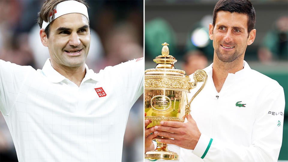 Roger Federer and Novak Djokovic, pictured here at Wimbledon.