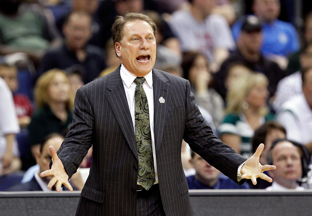 Head coach Tom Izzo of the Michigan State Spartans reacts on the sideline during the first half against the St. Louis Billikens during the third round of the 2012 NCAA Men's basketball tournament at Nationwide Arena on March 18, 2012 in Columbus, Ohio.  (Photo by Rob Carr/Getty Images)