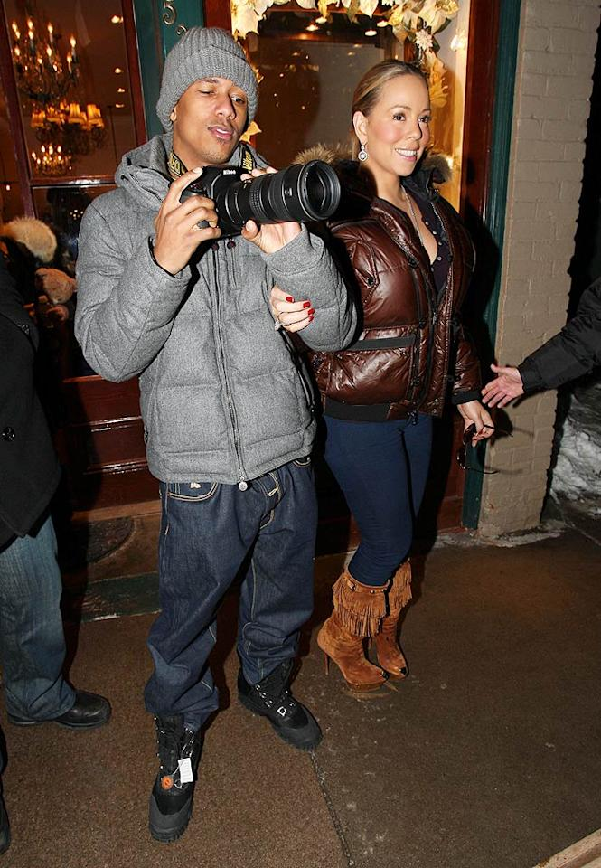 "Nick Cannon clowned around with the paparazzi, while wife Mariah Carey donned stiletto boots and elegant earrings. Think this is her idea of dressing down? Tomas-ionu/<a href=""http://www.x17online.com"" target=""new"">X17 Online</a> - December 20, 2009"