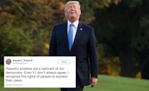 <p>The right to protest peacefully is enshrined in the US Constitution – as Donald Trump clearly knows, judging from this tweet in 2017. Despite this, the President has branded NFL star Colin Kaepernick a 'son of a bitch' for kneeling during the national anthem in a (very peaceful) protest against police brutality. He has also urged NFL team owners to fire anyone who copies Kaepernick. (Getty) </p>