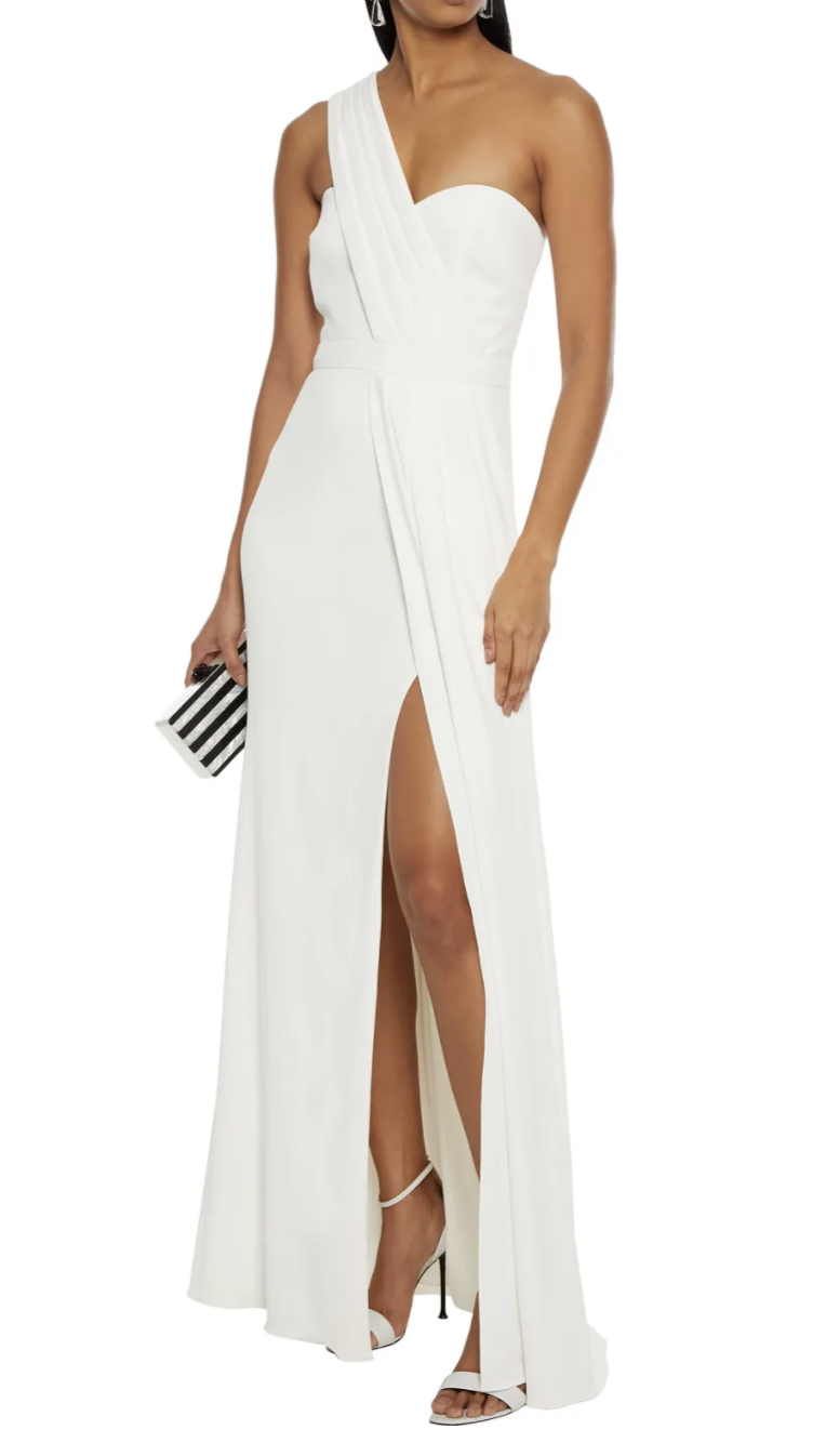 Badgley Mischka One-Shoulder Pleated Stretch-Crepe Gown in Off-White (Photo via The Outnet)