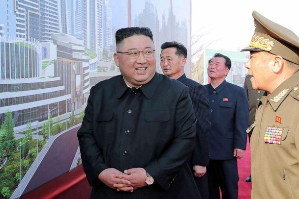 PHOTO: In this photo provided by the North Korean government, North Korean leader Kim Jong Un, center, attends a ceremony to break ground for building 10,000 homes, in Pyongyang, North Korea, Tuesday, March 23, 2021. (Korean Central News Agency/Korea News Service via AP)