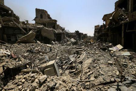 Destroyed buildings from clashes are seen in the Old City of Mosul